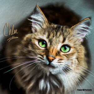 cat painting with green eyes